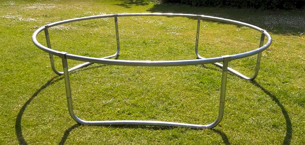 5. join the legs to the circular frame of the trampoline