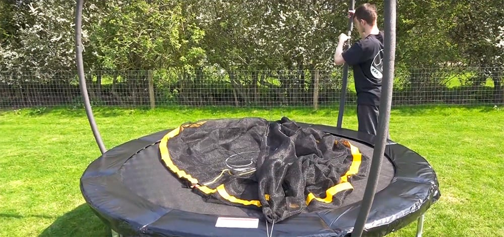 build the trampoline enclosure to full height