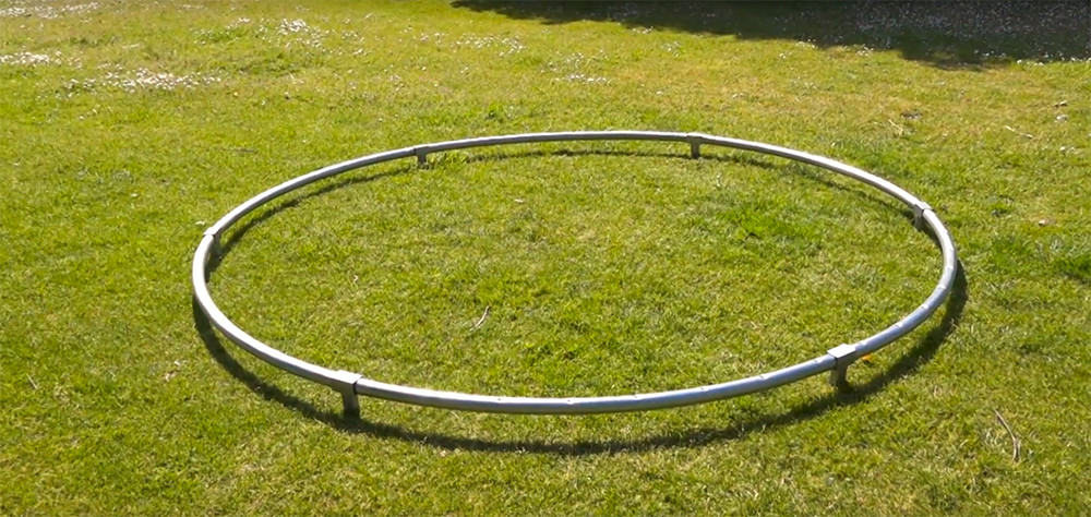 Create the circular frame for the trampoline